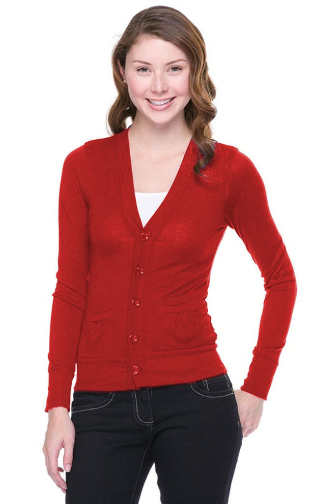 Long Sleeve Button Down Cardigan | 30% Off First Order | Red