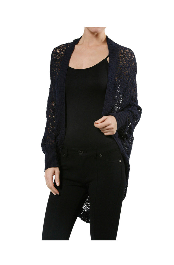 3/4 Sleeve Draped Open Knit Cocoon Cardigan - BodiLove | 30% Off First Order  - 8