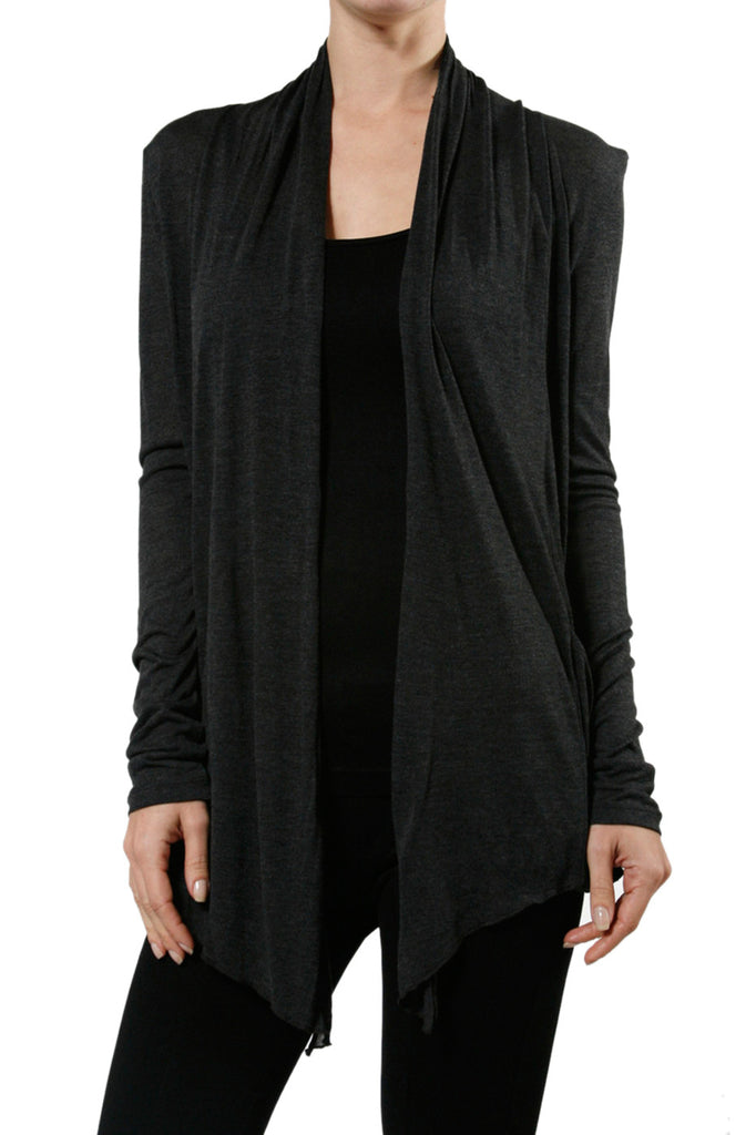Long Sleeve Draped Open Front Cardigan - BodiLove | 30% Off First Order  - 34