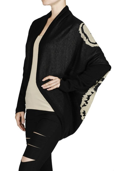 Long Sleeve Draped Open Front Knit Cardigan - BodiLove | 30% Off First Order - 1 | Black & Taupe