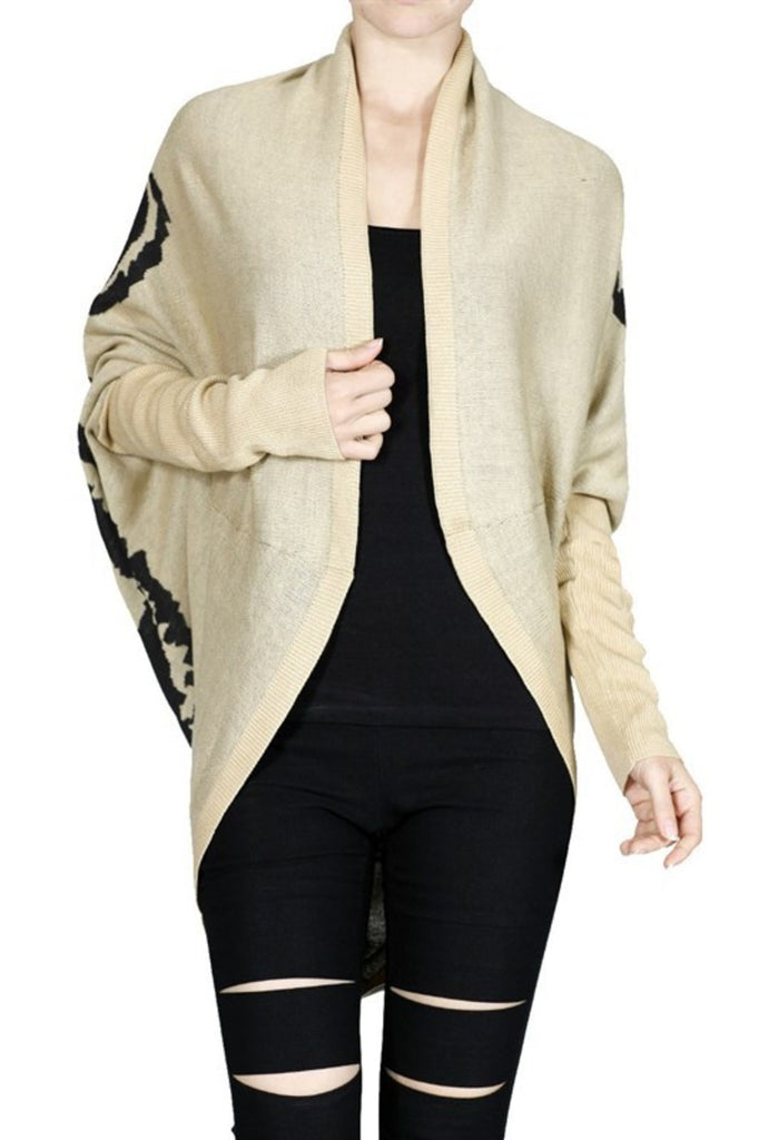 Long Sleeve Draped Open Front Knit Cardigan - BodiLove | 30% Off First Order - 4 | Tan & Black