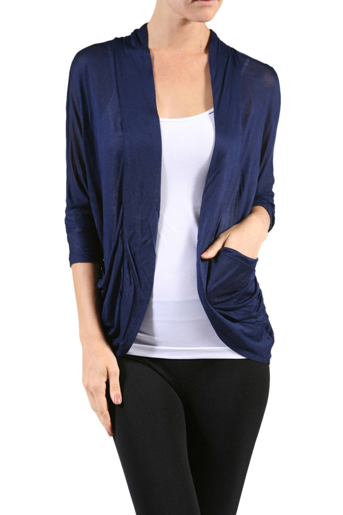 3/4 Sleeve Open Front Shrug Cardigan - BodiLove | 30% Off First Order - 1
