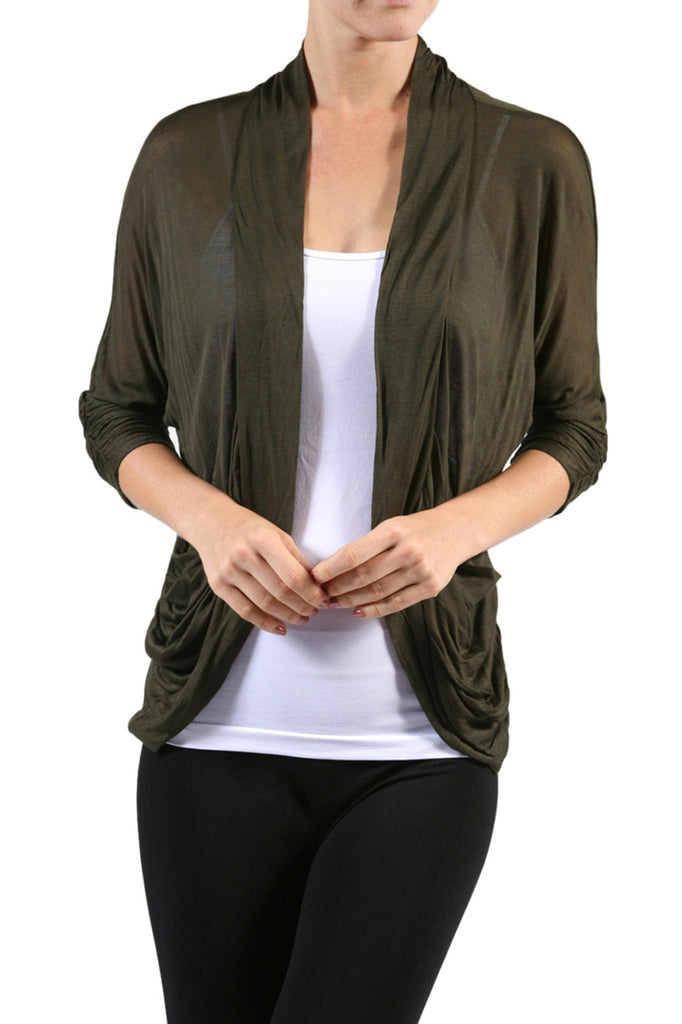 3/4 Sleeve Open Front Shrug Cardigan - BodiLove | 30% Off First Order - 3