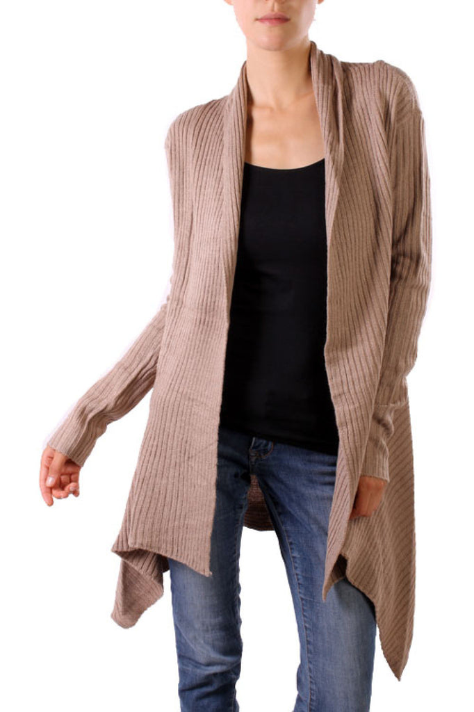 Long Sleeve Open Front Knit Sweater | 30% Off First Order | Khaki