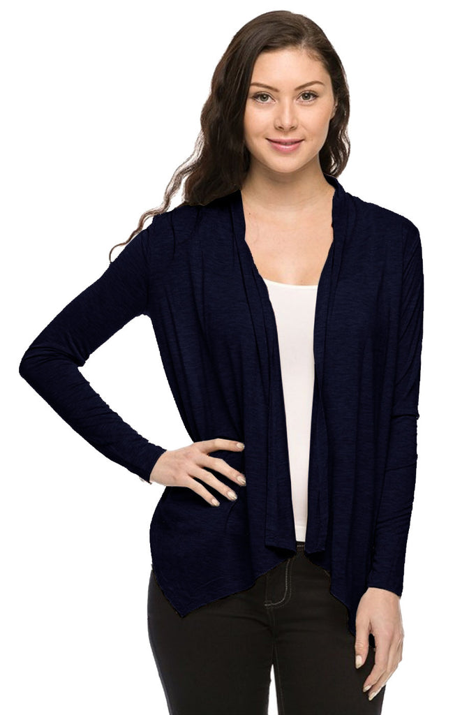 Long Sleeve Open Front Cardigan W/ Chiffon Back - BodiLove | 30% Off First Order  - 3