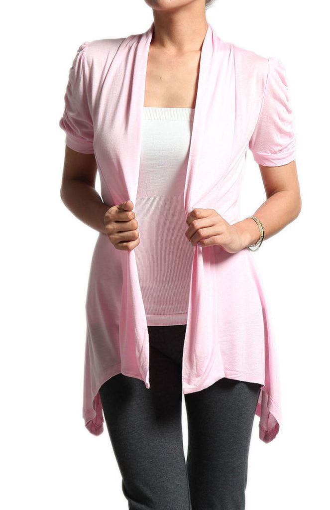 Draped Short Sleeve Open Front Cardigan - BodiLove | 30% Off First Order  - 21
