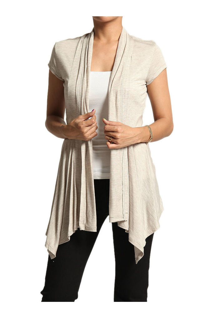 Draped Cap Sleeve Open Front Cardigan - BodiLove | 30% Off First Order  - 18