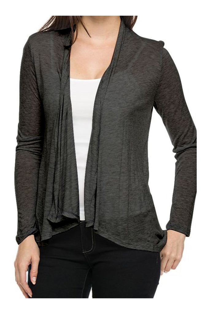 Draped Open Front Long Sleeve Cardigan - BodiLove | 30% Off First Order  - 3