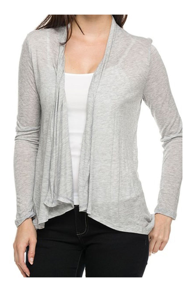 Draped Open Front Long Sleeve Cardigan - BodiLove | 30% Off First Order  - 4