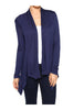 Draped Open Front Long Sleeve Cardigan | 30% Off First Order | Dark Blue