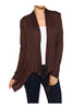 Draped Open Front Long Sleeve Cardigan | 30% Off First Order | Dark Brown