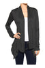 Draped Open Front Long Sleeve Cardigan | 30% Off First Order | Charcoal1