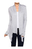 Draped Open Front Long Sleeve Cardigan | 30% Off First Order | Light Gray