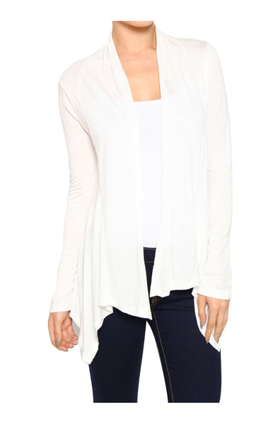 Draped Open Front Long Sleeve Cardigan | 30% Off First Order | Off White
