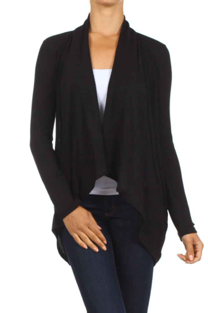 Long Sleeve Open Front Cardigan W/ Round Hem - BodiLove | 30% Off First Order - 1