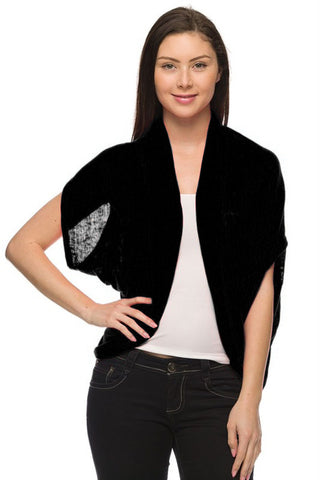 Short Sleeve Open Front Shawl Cardigan