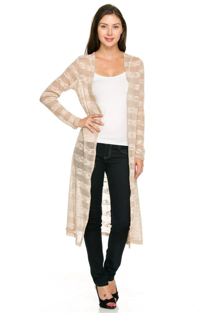 Long Sleeve Open Front Knit Maxi Cardigan - BodiLove | 30% Off First Order - 1