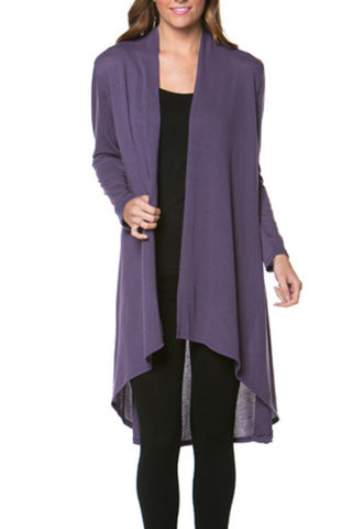 Violet Long Sleeve Open Front Hi-Low Cardigan