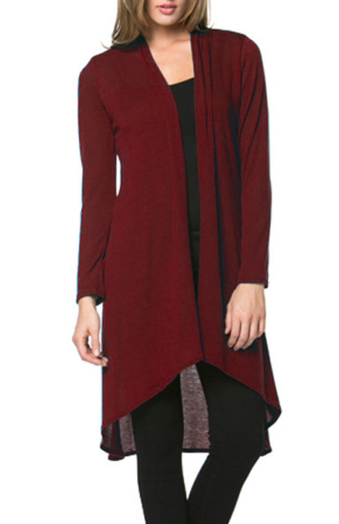 Violet Long Sleeve Open Front Hi-Low Cardigan - BodiLove | 30% Off First Order - 2