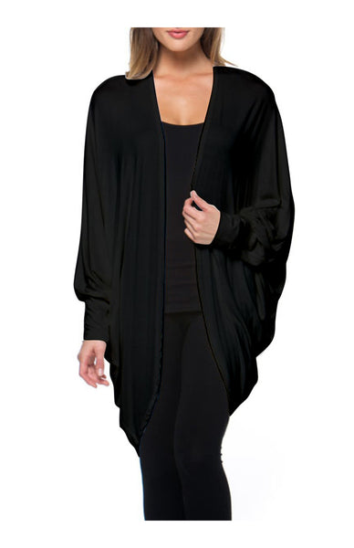 Draped Open Front Hi-Low Cocoon Kimono Cardigan - BodiLove | 30% Off First Order - 1