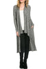 Long Sleeve Open Front Knit Maxi Cardigan | 30% Off First Order | Grey