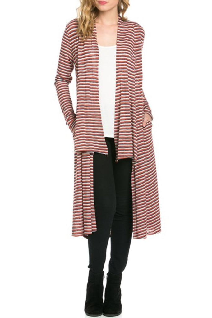 Long Sleeve Open Front Knit Maxi Cardigan | 30% Off First Order | Red & Gray