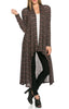 Long Sleeve Open Front Knit Maxi Cardigan | 30% Off First Order | Black & Mauve