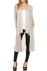 Long Sleeve Open Front Knit Maxi Cardigan | 30% Off First Order | Heather Khaki