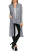 Long Sleeve Open Front Knit Maxi Cardigan | 30% Off First Order | Heather Navy