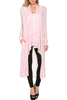Long Sleeve Open Front Knit Maxi Cardigan | 30% Off First Order | Heather Pink