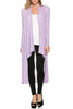 Long Sleeve Open Front Knit Maxi Cardigan | 30% Off First Order | Heather Purple