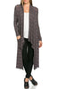 Long Sleeve Open Front Knit Maxi Cardigan | 30% Off First Order | Multi-Stripes