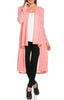 Long Sleeve Open Front Knit Maxi Cardigan | 30% Off First Order | Pink
