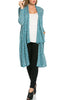 Long Sleeve Open Front Knit Maxi Cardigan | 30% Off First Order | Turquoise