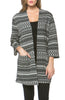 Boxy 3/4 Sleeve Open Front Kimono Cardigan - BodiLove | 30% Off First Order - 1 | Black & White