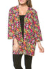 Boxy 3/4 Sleeve Open Front Kimono Cardigan - BodiLove | 30% Off First Order - 9 | Brown & Pink