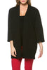 Boxy 3/4 Sleeve Open Front Kimono Cardigan - BodiLove | 30% Off First Order - 21 | Black