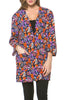 Boxy 3/4 Sleeve Open Front Kimono Cardigan - BodiLove | 30% Off First Order - 5 | Navy & Orange