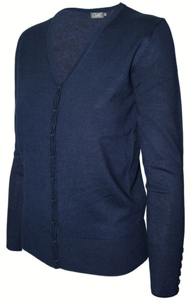 Long Sleeve V-Neck Button Up Cardigan - BodiLove | 30% Off First Order - 1 | Navy