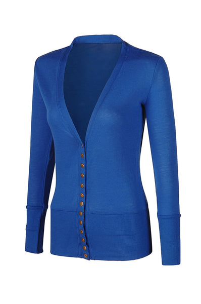 Long Sleeve V-Neck Button Up Cardigan | 30% Off First Order | Royal Blue
