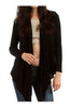 Faux Leather Yoke Long Sleeve Cardigan - BodiLove | 30% Off First Order  - 1