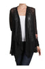 Long Sleeve Open Front Cardigan W/ Lace Trim | 30% Off First Order | Black1