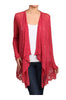 Long Sleeve Open Front Cardigan W/ Lace Trim | 30% Off First Order | Burgundy