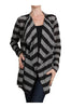 Draped Open Front Long Sleeve Cardigan | 30% Off First Order | Black & Gray