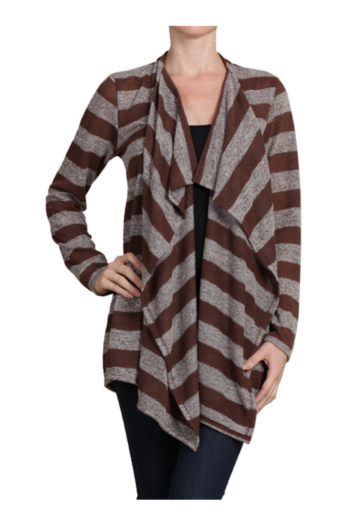 Draped Open Front Long Sleeve Cardigan | 30% Off First Order | Brown & Gray