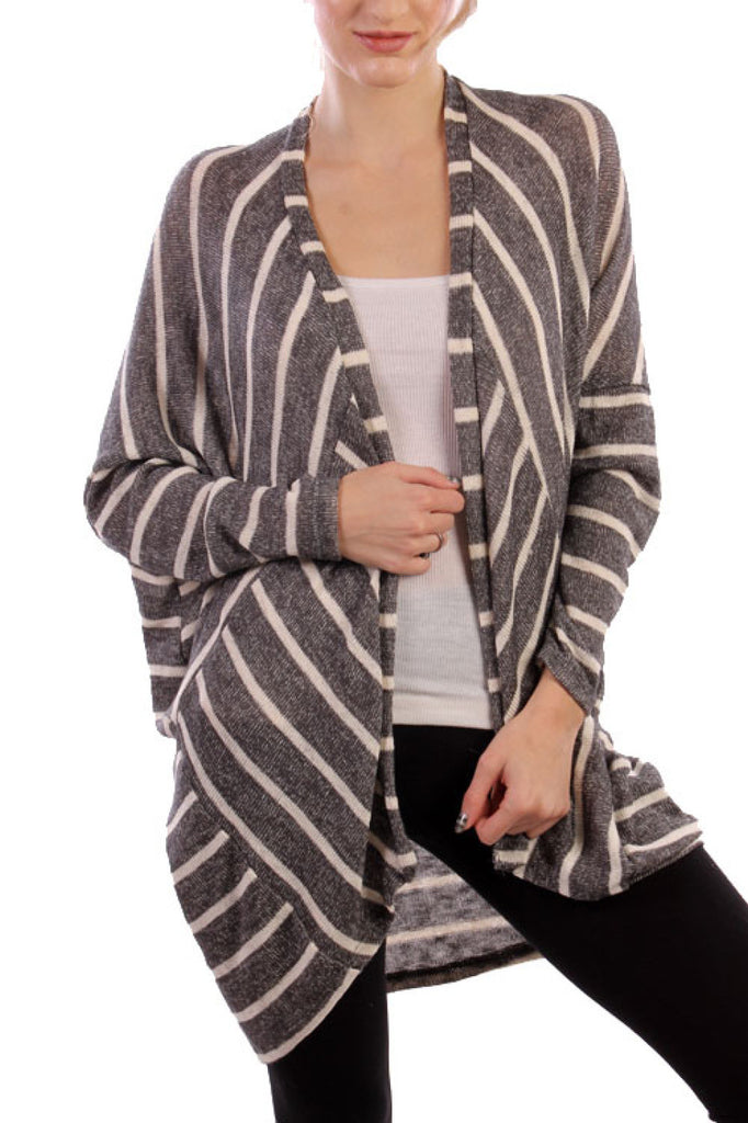 Long Sleeve Open Front Striped Knit Cardigan - BodiLove | 30% Off First Order  - 4