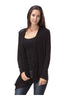 Draped Open Front Cardigan W/ Faux Leather Trim - BodiLove | 30% Off First Order  - 1