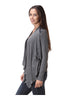Draped Open Front Cardigan W/ Faux Leather Trim - BodiLove | 30% Off First Order  - 5