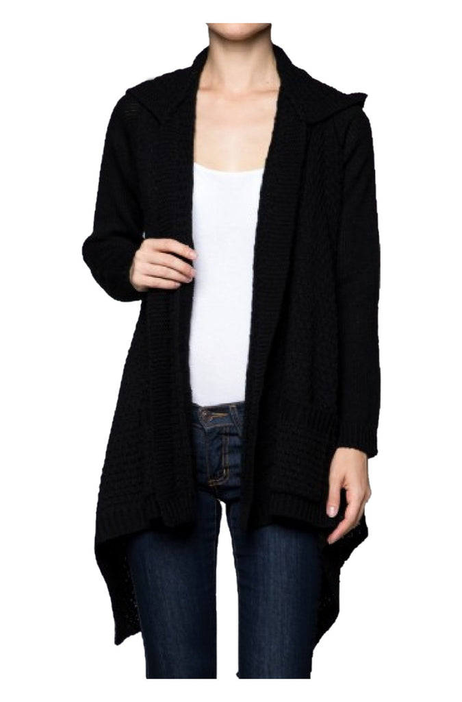 Hooded Open Front Knit Cardigan | 30% Off First Order | Black