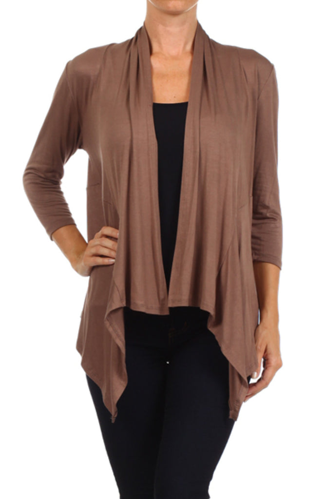 Draped Long Sleeve Open Front Cardigan | 30% Off First Order | Mocha